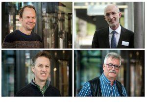 "Ingolf Kühn, Stuart Parkin (oben, v.l.), Stanley Harpole und Josef Settele (unten, v.l.) gehören zu den ""Highly Cited Researchers"". Foto: Sebastian Wiedling / UFZ (3), Maike Glöckner."